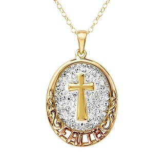 Crystaluxe Faith Pendant with Swarovski Crystals in 14K Gold-Plated Sterling Silver - White