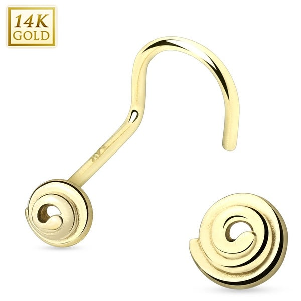 14 Karat Solid Gold Spiral Nose Screw (Sold Individually)
