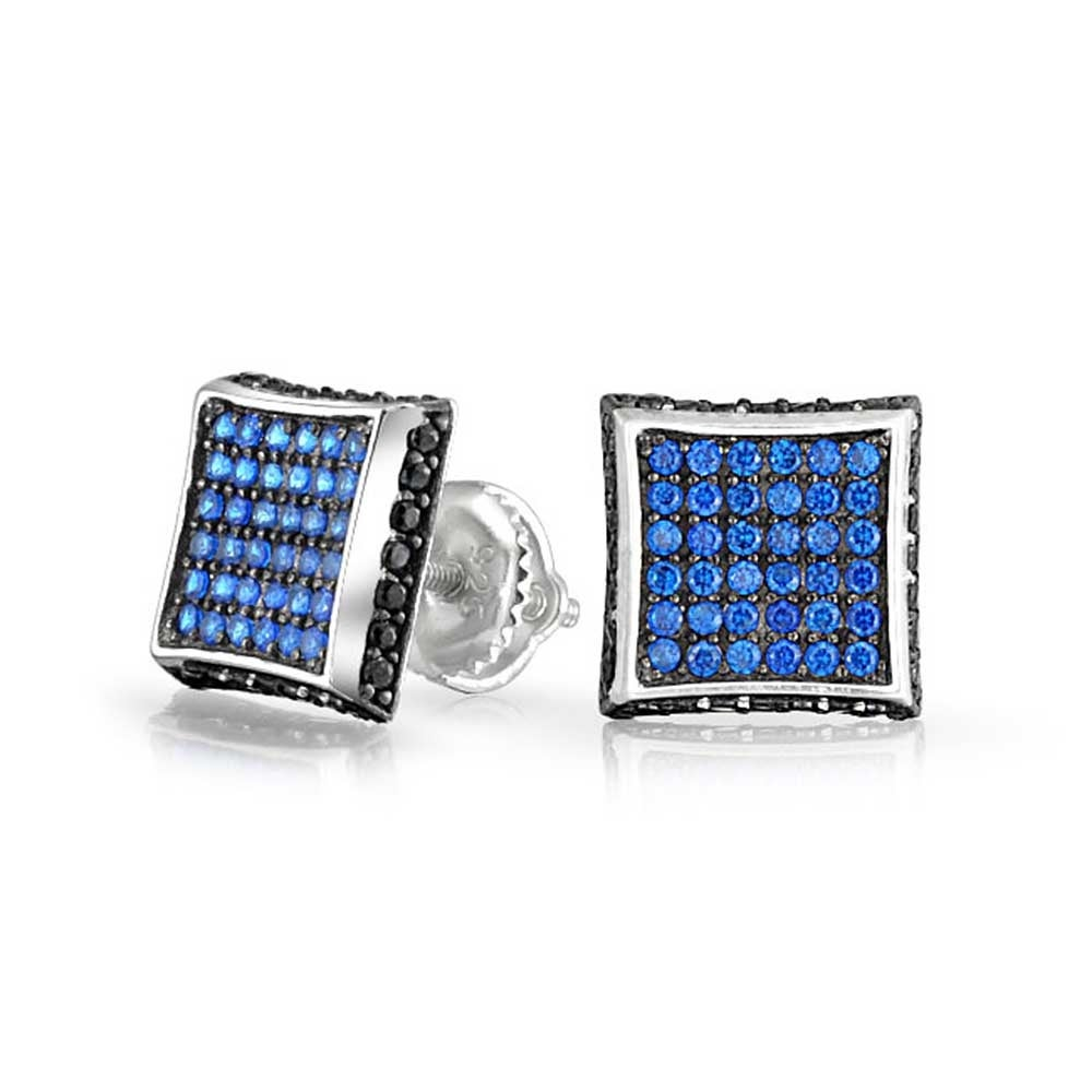 3bf10df6bc26c Black Blue Cubic Zirconia Micro Pave CZ Square Stud Earrings For Men  Imitation Sapphire Sterling Silver Screwback 9MM
