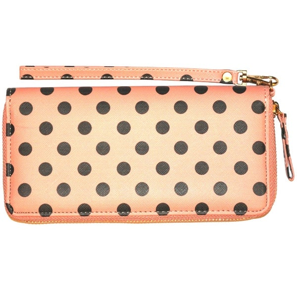 Polka Dot Wristlet Clutch Wallet With Wrist Strap, Coral Pink - Medium