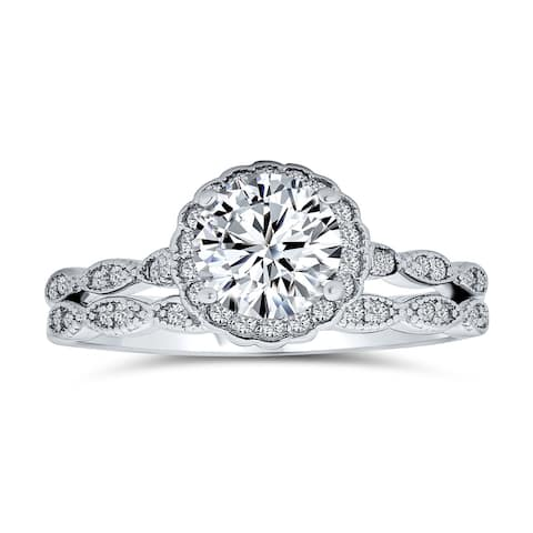 2CT Solitaire Marquise AAA CZ Engagement Ring Set Sterling Silver