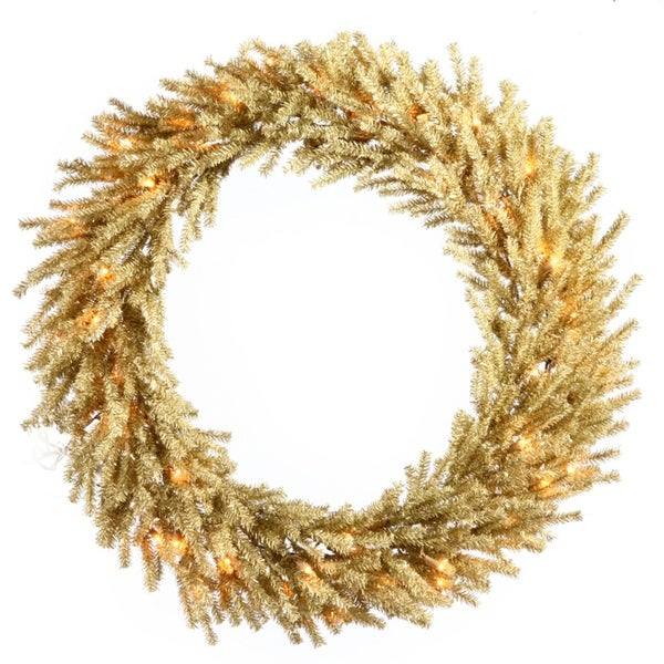 """30"""" Pre-Lit Sparkling Champagne Artificial Christmas Wreath - Clear Lights - GOLD"""