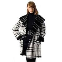 Sutton Studio Womens Plaid Reversible Cape Jacket Black & White Misses