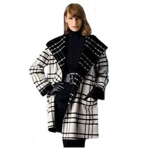 Sutton Studio Womens Plaid Reversible Cape Jacket Black & White Misses