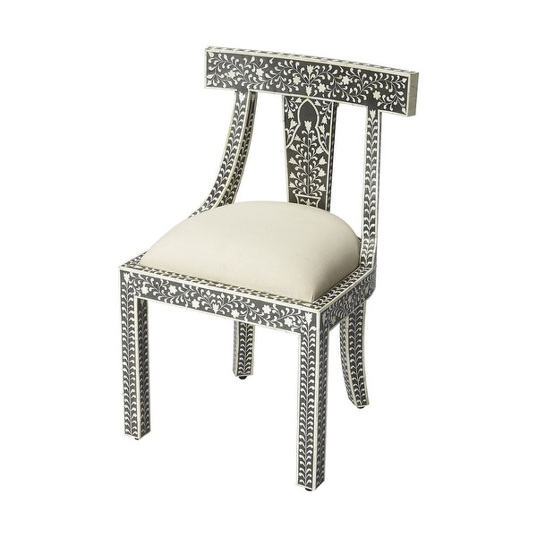 Traditional Distressed Black Bone Inlay Wooden Accent Chair