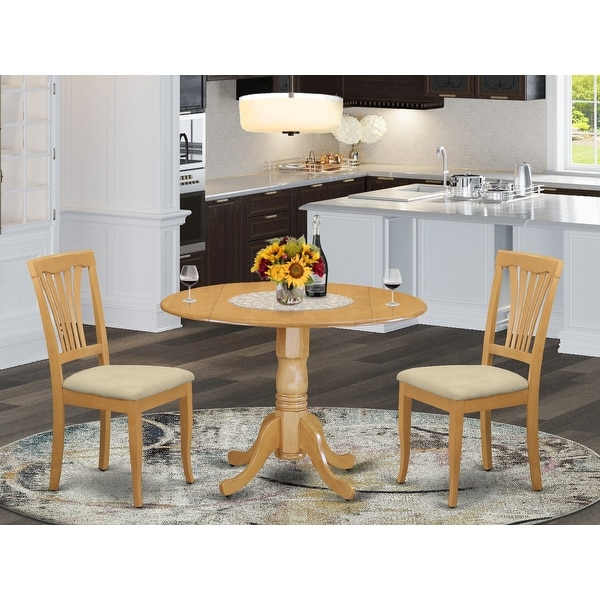 Oak Finish Round Dining Table and Dinette Chair 3-piece Dining Set. Opens flyout.
