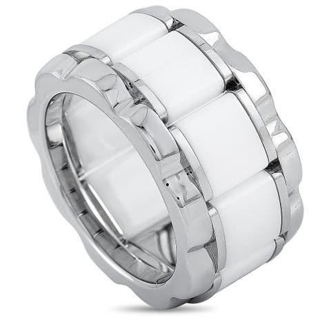 Tag Heuer Stainless Steel and Ceramic 0.007 ct Diamond Ring Size 7.75