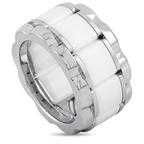 Tag Heuer Stainless Steel and Ceramic 0.007 ct Diamond Ring Size 8.5