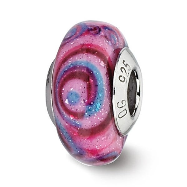 Italian Sterling Silver Reflections Pink/Blue Swirls Overlay Glass Glass Bead (4mm Diameter Hole)