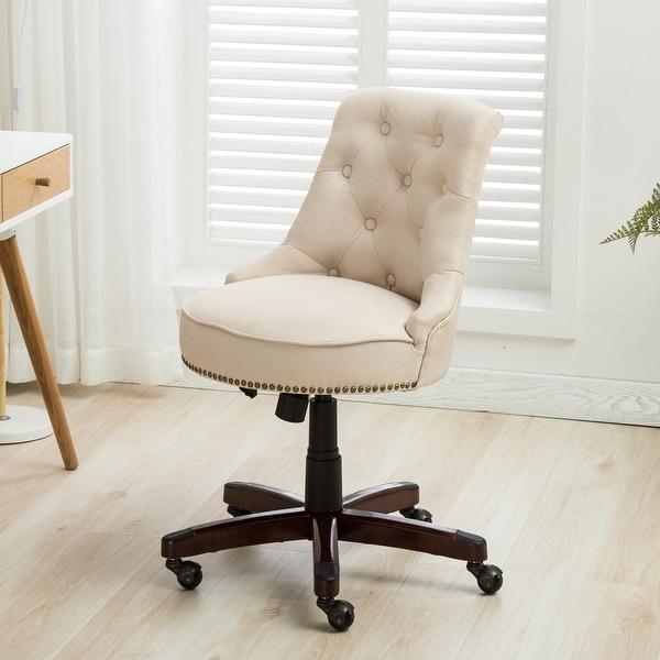 Home Office Chair Tufted Linen Height Adjustble Tilt Swivel Beige