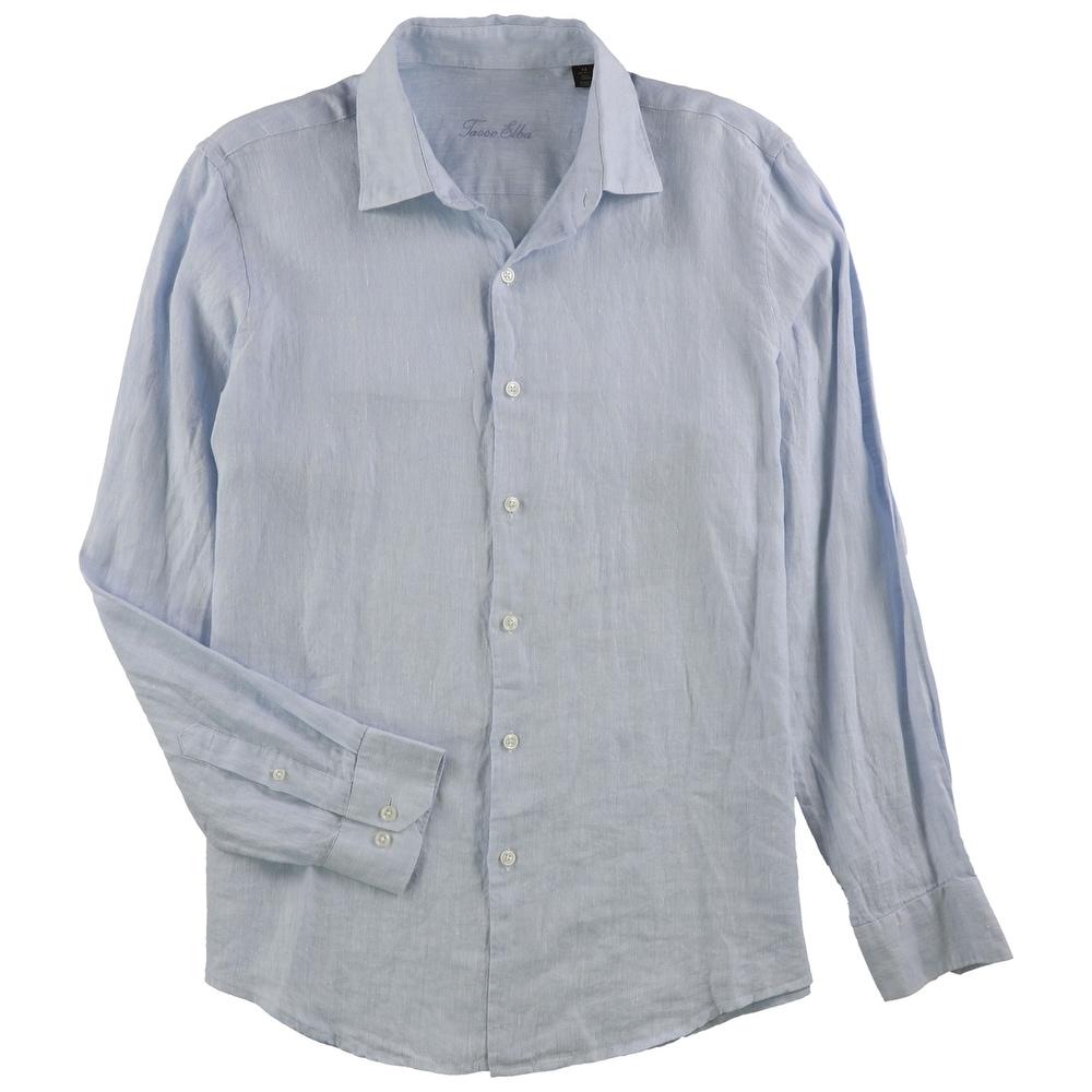 Tasso Elba Mens Marled Aqua Shirt Button down 100/% Linen