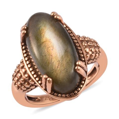 Shop LC R8W8 Bronze Labradorite Cocktail Ring Ct 8.4