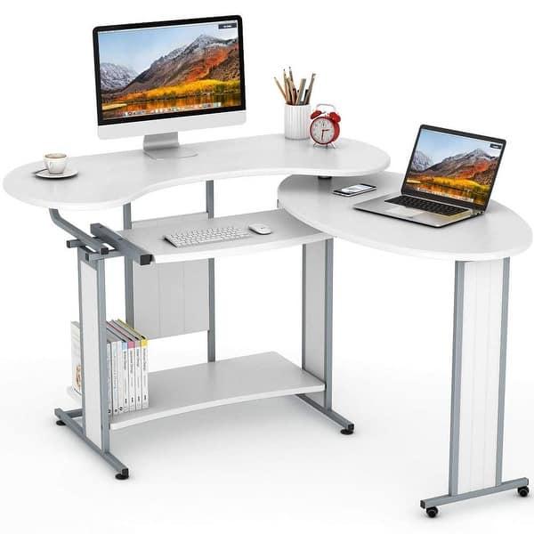 Rotating Corner Desk /& Modern Office Desk Workstation L-Shaped Computer Desk