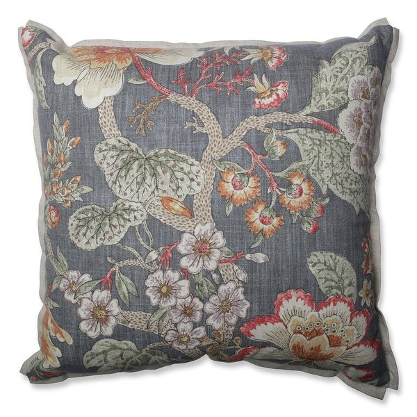 "18"" Vintage Blooms Gray Floral Indoor Throw Pillow"