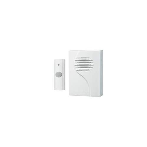 NuTone LA223WH Plug-In Door Chime Receiver with Wireless Unlighted Rectangular Pushbutton
