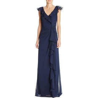 Adrianna Papell Womens Formal Dress Chiffon Pintuck