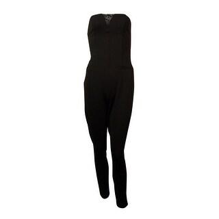 Guess Women's Strapless Lace Plunge Neck Jumpsuit - Jet Black - 0