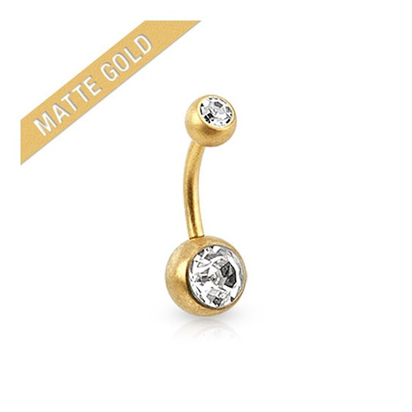 Double Jeweled Navel Belly Button Ring Matte Gold IP Over 316L Surgical Steel