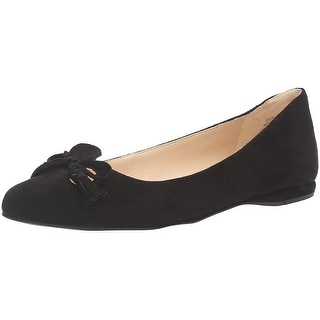 Nine West Womens Simily Leather Pointed Toe Ballet Flats