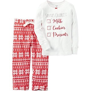 Carter's Little Girls' 2 Piece Fleece Santa's Checklist- 24 Months