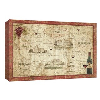"""PTM Images 9-153809  PTM Canvas Collection 8"""" x 10"""" - """"Wine Map"""" Giclee France Art Print on Canvas"""