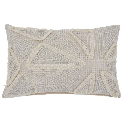 14 x 22 Geometric Embroidered Accent Pillow, Set of 4, Cream