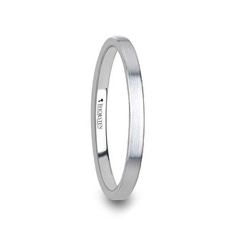 MAISIE Flat Style Womens White Tungsten Carbide Ring with Brushed Finish - 2 mm