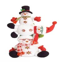 """Set of 2 White and Red stacked Snowman with Glasses Christmas Ornaments 26"""" - green"""