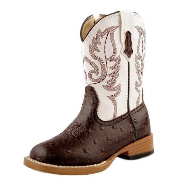 0d3f4366209 Roper Western Boots Boys Faux Ostrich Brown