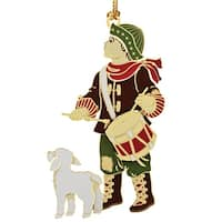 """3.25"""" Multicolored 24K Gold Finished Drummer Boy and Dog Christmas Ornament - brown"""