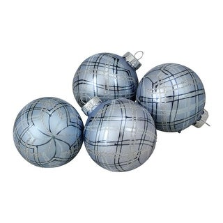 4-Piece Plaid Glitter Pattern on a Silver Glass Ball Christmas Ornament Set 2.5 (65mm)