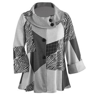 Women's Swing Coat - Puzzle Print Jacket High Collar - Black/White