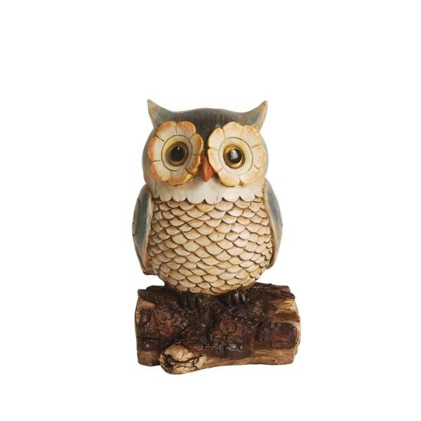 "7"" Brown and Green Screech Owl on a Stump Outdoor Patio Garden Statue"