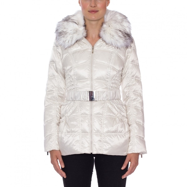 Laundry by Shelli Segal Faux Fur Belted Down Puffer Coat