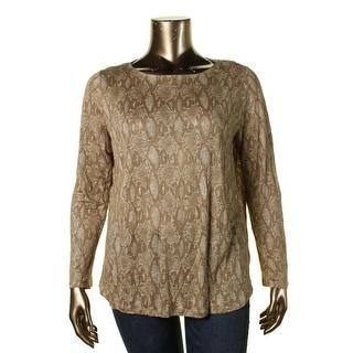 Lauren Ralph Lauren Womens Plus Linen Pattern Casual Top - 2X