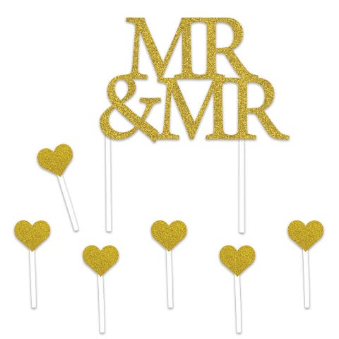 Set of 12 Gold Mr & Mrs Cake Topper and Hearts 8.5