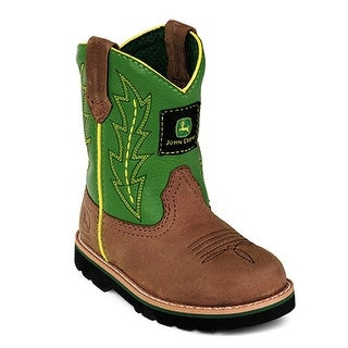 John Deere Boys Girls Green Leather Western Boots Baby Toddler 4-8