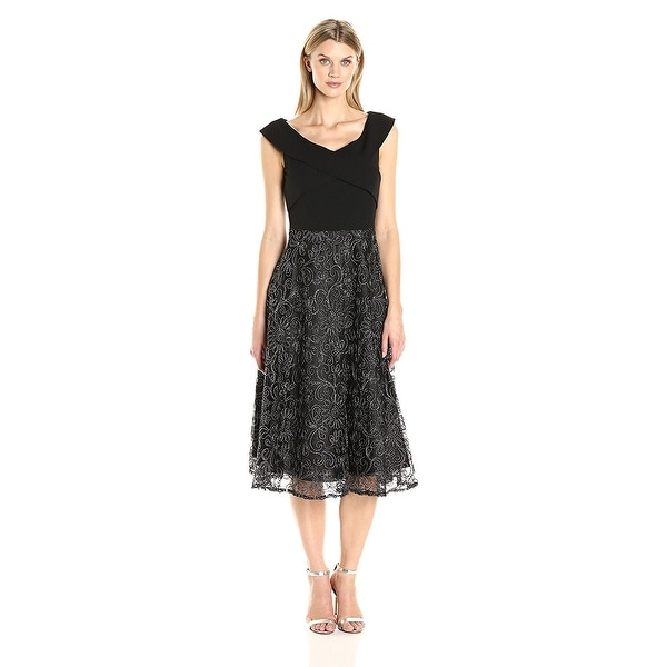 Alex Evenings Petite Ribbon Embroidered Tea Length Cocktail Dress ...
