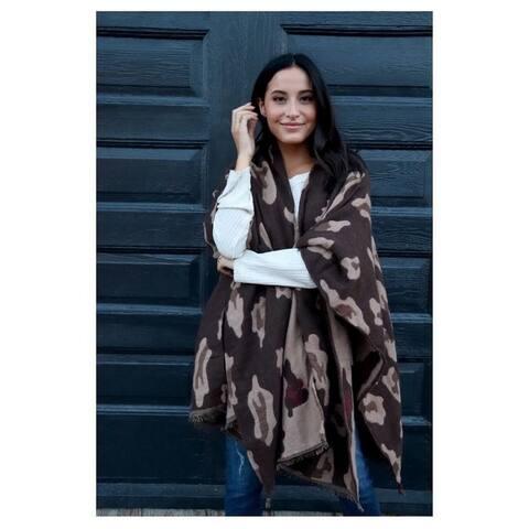 Panache Accessories Large Leopard Print Knit Cape Wrap Pashmina Shawl Brown