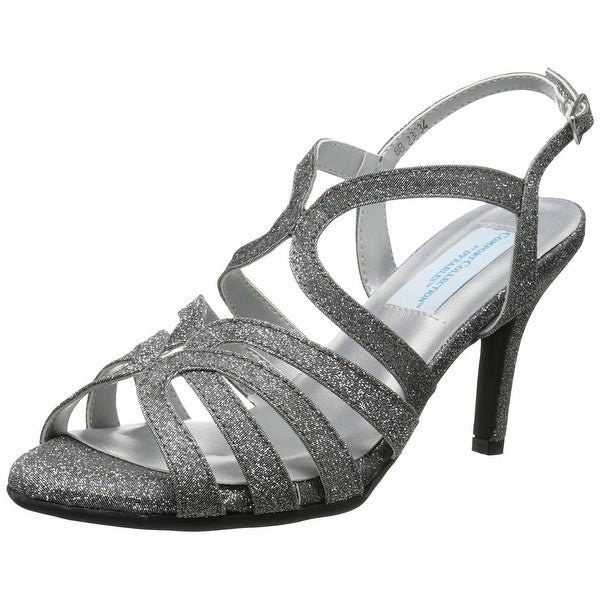 Dyeables Womens paisley Open Toe Casual Slingback, Silver sparkle, Size 12.0