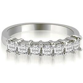 0.70 cttw. 14K White Gold Princess Diamond 7-Stone Prong Wedding Band