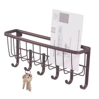 InterDesign 58971 Wall Mount Mail & Key Rack, Bronze