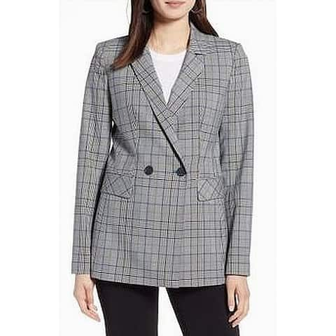 Halogen Blazer Junior Plaid Double Breasted Notched Lapel