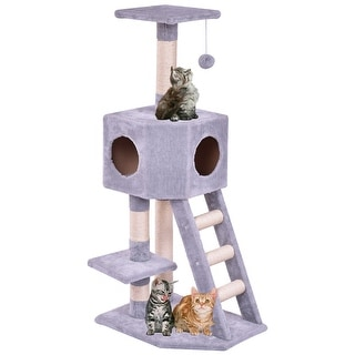Gymax Pet Furniture Cat Tree Kitten Play House Tower Condo Scratch Post W  Ladder Toy