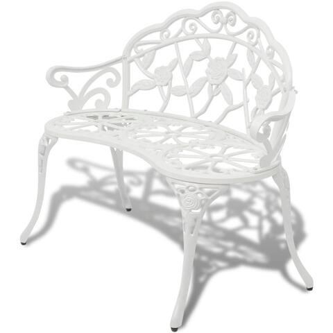 "vidaXL Garden Bench Chair White Porch Park Aluminum Outdoor Rose Antique Seat - 39"" x 21"" x 31"""