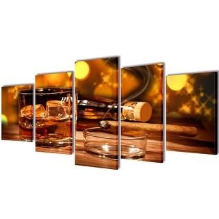 "vidaXL Canvas Wall Print Set Whiskey and Cigar 39"" x 20"""