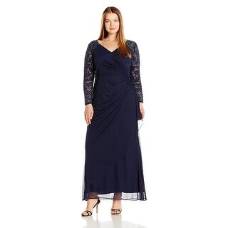Alex Evenings Plus Size Embellished Illusion Sleeve Long Evening Gown Navy