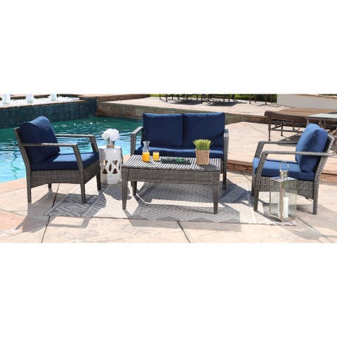 Abbyson Outdoor Venetian 4-Piece Wicker Seating Set with Cushion