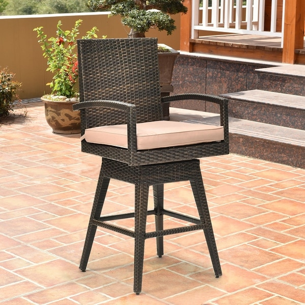 Costway Outdoor Wicker Swivel Bar Stool Chair Patio Backyard Furniture w/ Seat Cushion - as pic
