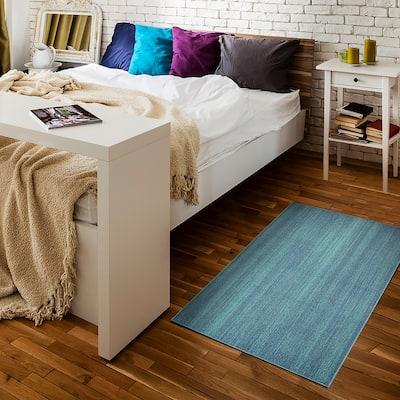 My Magic Carpet Machine Washable Area Rug Solid Blue